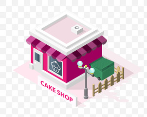 Isometric High Quality City Element with 45 Degrees Shadows on Transparent Background . Cake Shop