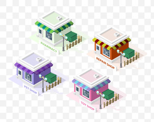Isometric High Quality City Element with 45 Degrees Shadows on Transparent Background. Pharmacy , Pet Shop , Toy Shop and Repair Shop