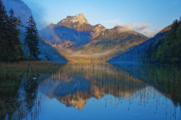 Austria, Styria, Eisenerz, Hochschwab, Pfaffenstein mountain, Leopoldsteiner lake in the morning