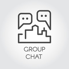 Group chat outline icon. Contour label of communication, conversations for Internet forum, instant messengers, mobile applications, web sites and games. Dialog speech bubbles. Vector illustration