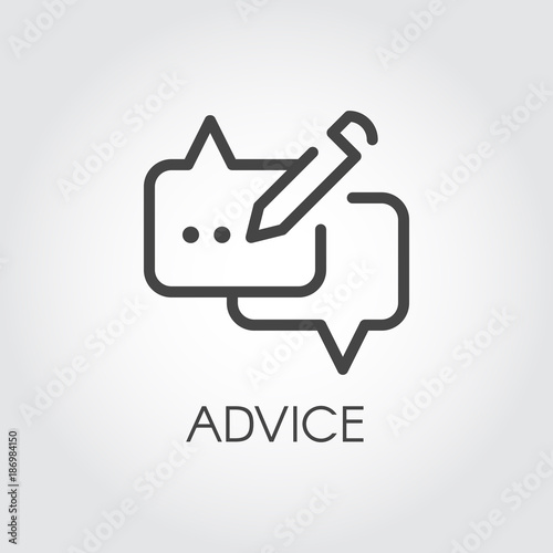 Advice Thin Line Icon Graphic Contour Symbol Of Message Bubble With