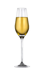 White wine in a glass isolated on white background, made in a realistic style, Hand Painted Illustration.
