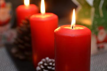 Christmas candle burning at night
