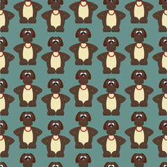 Seamless pattern with cute dogs. Fun ornament with puppies for textiles, packaging, Wallpaper, covers.
