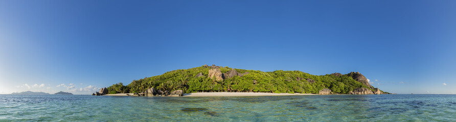 Seychelles, La Digue, Island, West Coast, Anse Source D'Argent, Panorama Wall mural