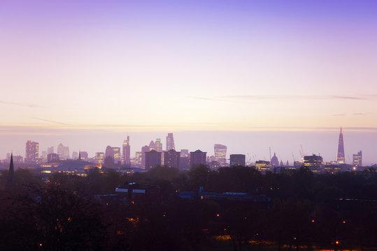 UK, London, skyline in morning light