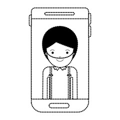 smartphone man profile picture with short hair and beard in black dotted silhouette