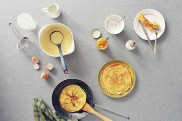Igredients and steps of preparing pancakes