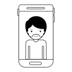 smartphone man profile picture with short hair and van dyke beard in black dotted silhouette