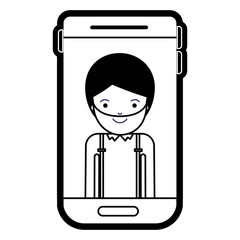 smartphone man profile picture with short hair and beard in black silhouette with thick contour