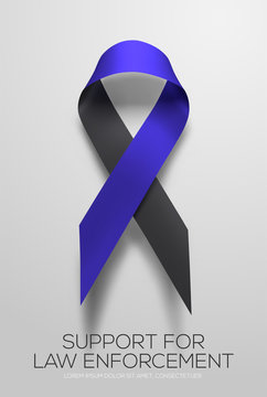 Black-blue ribbon symbolic of support for law enforcement. Vector EPS 10