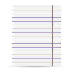 Notebook blank paper background. A sheet of paper in line. Isolated on a white background. Vector