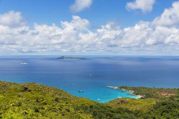 Seychelles, Praslin, View from Anse Lazio, Pointe Chevalier to Aride Island