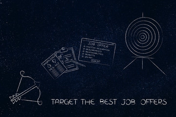 target and arrow with job offer and shortlist in between