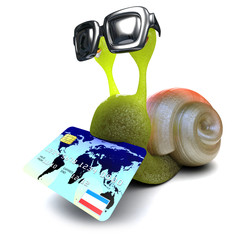 3d Funny cartoon snail character holding a credit card