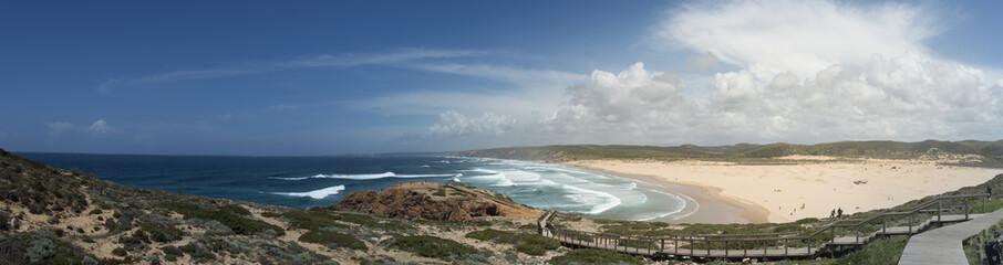 Portugal, Algarve, Bordeira, Praia do Bordeira, panoramic view