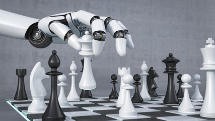 Robot hand playing chess, 3D Rendering