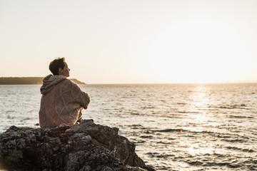France, Crozon peninsula, woman at beach
