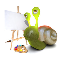 3d Funny cartoon snail character painting a picture