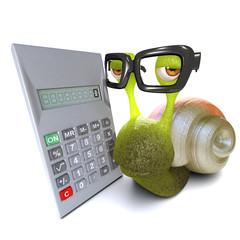 3d Funny cartoon snail character using a digital calculator