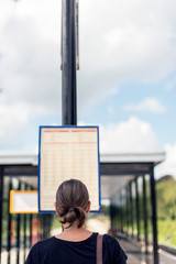 Brunette woman inspecting timetable at train station in summer. Rear view.