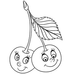 Coloring book. Coloring page. Cartoon Cherry twins character. Happy fruit symbol. Food icon. Freehand sketch drawing. Design element for kids t-shirt print, labels, patches or stickers.
