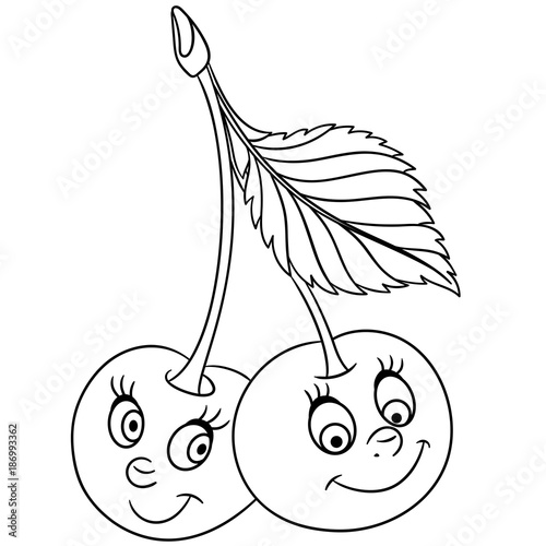 cartoon food coloring pages - coloring book coloring page cartoon cherry twins