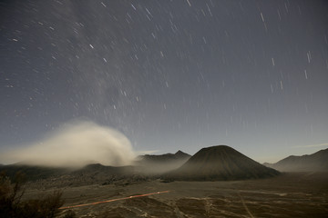 Indonesia, Java, Volcanos Bromo, Batok and Semeru at night