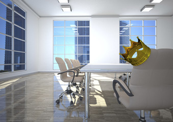 Empty conference room with king's crown on office chair