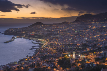 Portugal, Madeira, Funchal at sunset