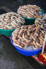 Shrimps on a market
