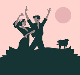 "Couple of flamenco dancers dancing ""sevillanas"", typical Spanish dance. Bull, moon or sun in the background."
