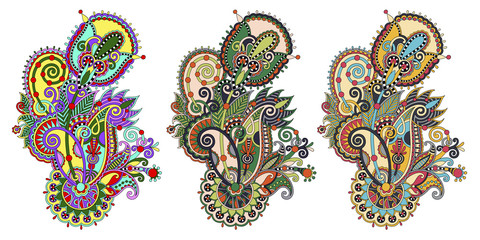 paisley flower pattern in three colors version, decorative flora