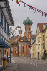 Germany, Allensbach, Church of St. Nicholas, street and shrovetide decoration