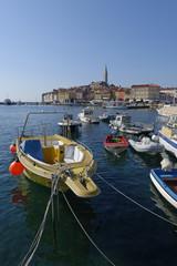 Croatia, Istria, Rovinj, Moored boats at the harbour