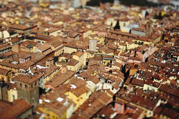 Italy, Emilia-Romagna, Bologna, cityscape, tilt-shift