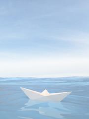 Little paper boat on water