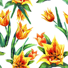 Watercolor seamless pattern of tulips.