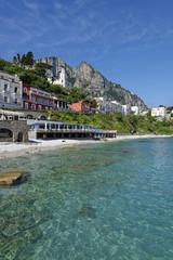 Italy, Campania, Gulf of Naples, Capri, Marina Grande, small beach Bagni Odine