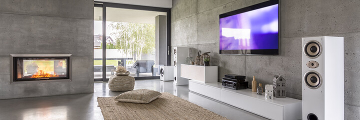 Television and white loudspeakers
