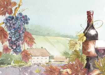 Bottles and leaves of grapes. Background with a lavender field. Watercolor illustration for postcards, scrabbuking. Hand drawn watercolor illustration. Banners of wine vintage background.