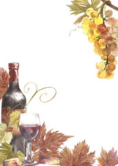 Bottles and glasses of wine and leaves of grapes, isolated on white. Hand drawn watercolor illustration. Banners of wine vintage background.