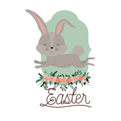 easter poster with bunny in frame with ornament floral in colorful silhouette