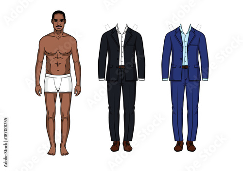 Vector Illustration Of Man Paper Doll With Clothes Elegant Suits Casual Style For Men