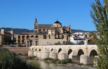 Beautiful view of the Mezquita and the Roman bridge / Cordoba, Andalucia, Spain