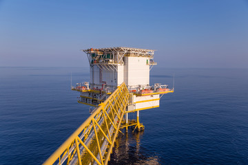 Offshore oil and gas accommodation platform in the gulf where is central facility of oil rig woeker.