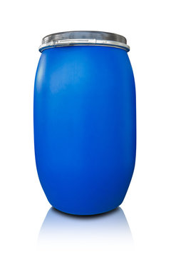 Blue drum being use in chemical and oil industrial for storage hazardous waste and chemical isolate on white background.