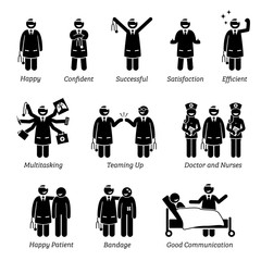Happy and Cheerful Doctor. Stick figure pictogram depicts a doctor that is feeling confident, successful, and satisfied. The doctor can do multitasking and love his work job at the clinic and hospital