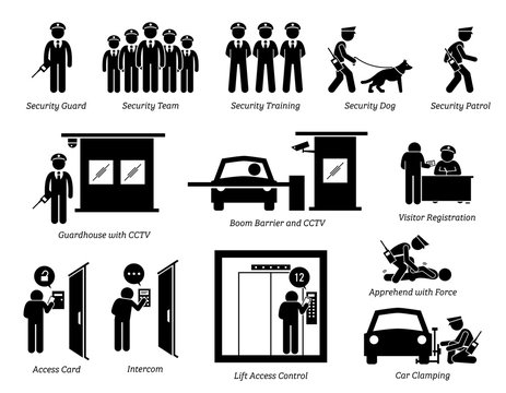 Security Guards Icons. Stick figures depict security guard, team, training, dog, patrolling, guardhouse, boom barrier gate, CCTV, visitor registration, car clamping, and security access card.