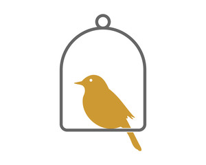 sparrow parakeets bird silhouette image vector cage